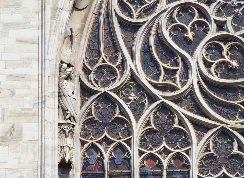 stained glass window at notre dame cathedral paris